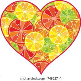 citrus fruit heart. Isolated on white background. Vector illustration
