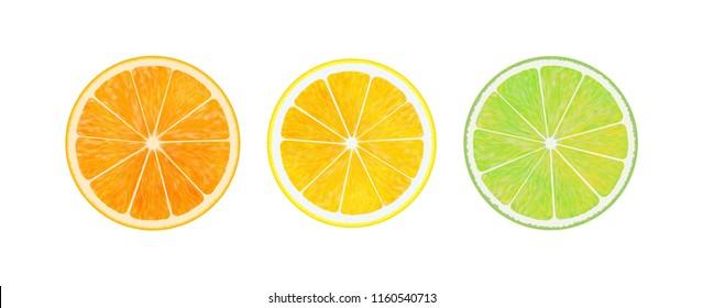 Citrus fruit. Orange, lemon, lime. Slices isolated on white background. Collection.