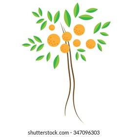 Citrus fruit tree vector icon isolated on white background. Clementines. Orange.