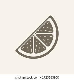 Citrus fruit wedge quarter slice with pulp logo icon silhouette design. Simple flat modern minimal clip art. Sign symbol for healthy diet, nutrition, vitamins etc. Lemon lime orange grapefruit.