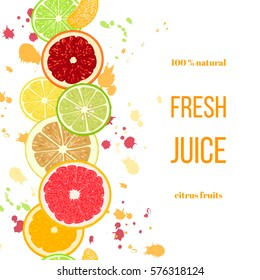Citrus fruits fresh juice. Bergamot, lemon, grapefruit, lime, mandarin, pomelo, orange, blood orange with splashes and slices. For fresh bar, cocktails, cafe, restaurant, label, advertising template