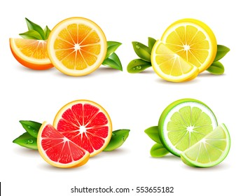 Citrus fruits halves and quarter wedges 4 realistic icons square with orange grapefruit lemon isolated vector illustration