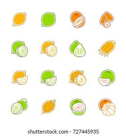 Citrus fruits icons - Lemon, orange and pomelo