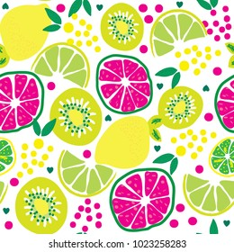 citrus fruits pattern, seamless pattern with lemon, kiwi, orange, citron, grape vector illustration