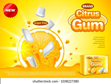 Citrus gum ads. Orange falling in juice. 3d illustration and packaging
