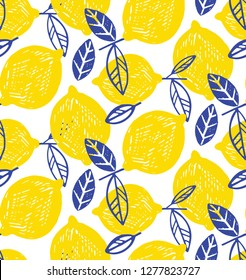 Citrus lime lemon doodle hand drawn pattern background wallpaper fabric texture