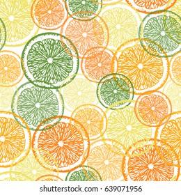 Citrus seamless pattern. Hand drawn slices of citrus fruits, lime, lemon, mandarin and orange. Vector illustration. All over print.