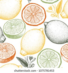 Citrus seamless pattern. Lemon background. Vector fruit illustration. Summer drawing for logo, icon, label, packaging design.