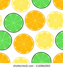 Citrus seamless vector illustration pattern with lemon, lime, orange. Texture for web design, cover and backdrop, with white isolated background. Eps 10.