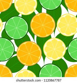 Citrus seamless vector illustration pattern with lemon, lime, orange, leafs. Texture for web design, cover and backdrop, with white isolated background. Eps 10.