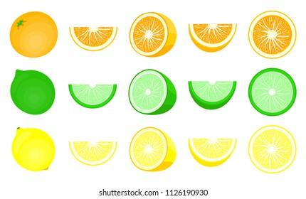Citrus set: orange,lime,mandarin,lemon. Modern flat cartoons style vector illustration icon. Isolated on white background. Ripe fresh cut in half. slice, half cut and front view of cut ripe. Citrus.