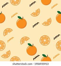 Citrus slice  oranges fruit  Seamless pattern background