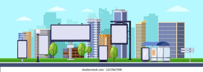 Stadtwerbegrafik.Vektorhintergrund. Stadtlandschaft mit weißen weißen, weißen Plakatwänden und Bannern. Werbekonzept für Unternehmen