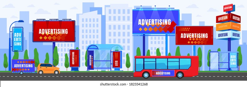 City advertising vector illustration. Cartoon flat urban cityscape panorama with car bus driving on asphalt street road, modern skyscraper building with digital commercial advert billboard background