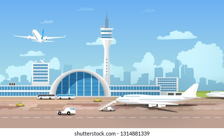 City Airport Terminal Cartoon Vector with Flying After Taking Off Airliner, Airplane Standing on Runway, Taxi and Buses Bringing Passengers to Flight Illustration. Traveling with Air Transport Concept