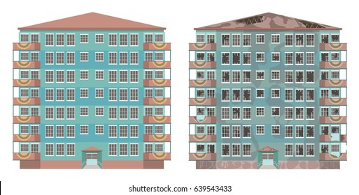 A city apartment building in good condition and in an abandoned state. Vector illustration, a flat style design. Isolated on a white background.