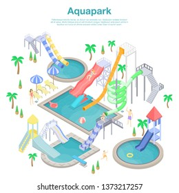 City aquapark concept banner. Isometric illustration of city aquapark vector concept banner for web design