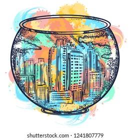 City in an aquarium tattoo and t-shirt design