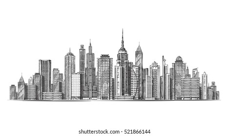 City. Architectural modern buildings in panoramic view. Sketch vector illustration