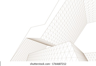 city architecture abstract 3d illustration