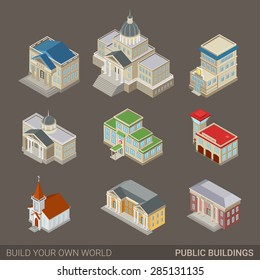 City architecture public government buildings flat 3d web isometric icon set. Mayor office bank police court house hospital fire station church museum post. Build your own world infographic collection