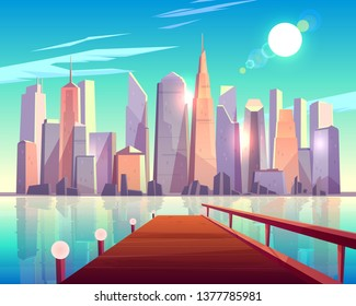 City architecture view from pier. Megapolis buildings sparkling in bright sun rays reflecting in water surface.