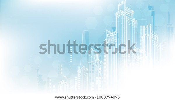 City background architectural with drawings of modern for use web, magazine or poster vector design.