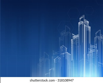 city Background architectural vector with drawings of modern