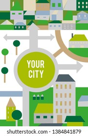 City background for the banner, flat style. Vector graphic illustration