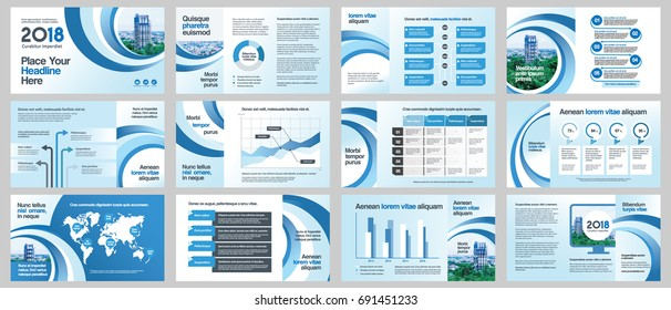City Background Business Company Presentation with Infographics. Corporate Design Media Layout, Book Cover, Flyer, Brochure, Annual Report for Advertising and Marketing