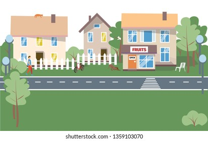 City Background - modern flat design style vector illustration on white background. Lovely housing complex with small buildings, trees, pedestrian zone with people walking