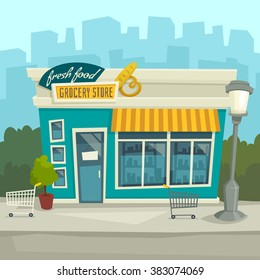 City background with shop building / Vector cartoon illustration / front view / exterior / Store facade at the street