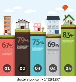 City bannner retro illustration with colorful icons infographics
