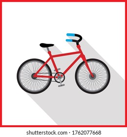 City Bicycle, Ecological Sport Transport, Red Bike Side View Flat Vector Illustration
