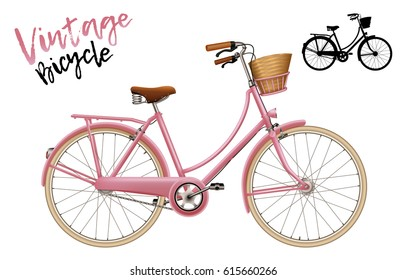 City bicycle. Vintage style in pink. Set includes lettering and silhouette shape. Isolated vector illustration.