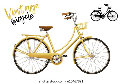 City bicycle. Vintage style in yellow. Set includes lettering and silhouette shape. Isolated vector illustration.
