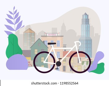 City bike hire rental tours for tourists and city visitors. Vector poster or banner template. Flat design modern vector illustration concept.