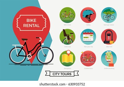 City bike hire rental tours for tourists and city visitors concept layout. Bicycle hire themed icons with damage waiver, bike helmet, child seat, lock, navigation, booking, guided tours
