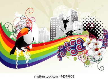 city and bird abstract color vector