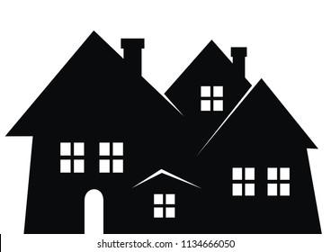 City, black silhouette. Vector icon. Group of houses with smokestack, windows and door.