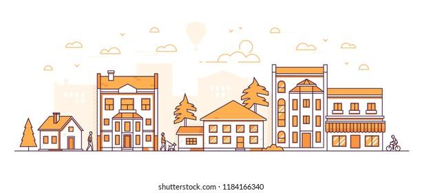 City block - modern thin line design style vector illustration