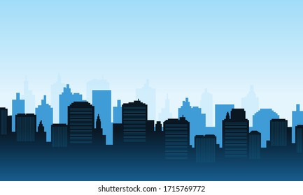City of blue color background daylight panorame