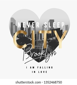 city Brooklyn slogan golden foil print on city heart shape illustration
