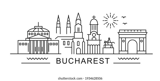city of Bucharest in outline style on white. Landmarks sign with inscription.