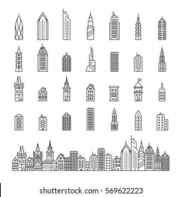 City builder vector illustration. City skyline and buildings. Collection of building icons in liner style