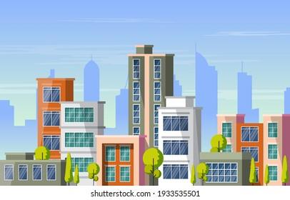 City Building Architecture Construction Cityscape Skyline Business Illustration