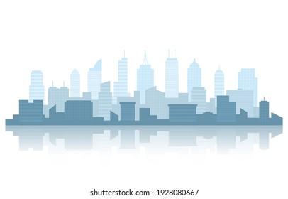 City Building Cityscape Skyline Business White Background Illustration