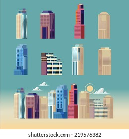 city building. downtown landscape - vector illustration