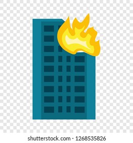 City building in fire icon. Flat illustration of city building in fire vector icon for web design
