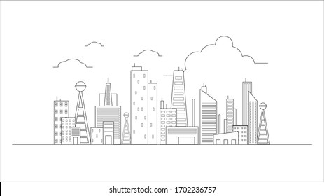 city building in flat line illustration vector, panoramic cityscape design for background